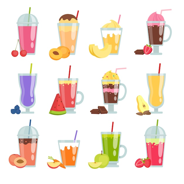 Cartoon smoothie. various summer drinks smoothie set Premium Vector