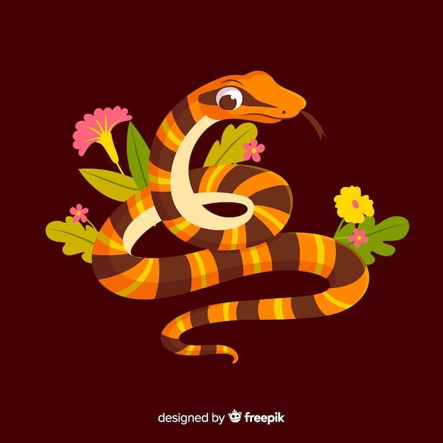 Мультфильм змея с цветами фона Бесплатные векторы