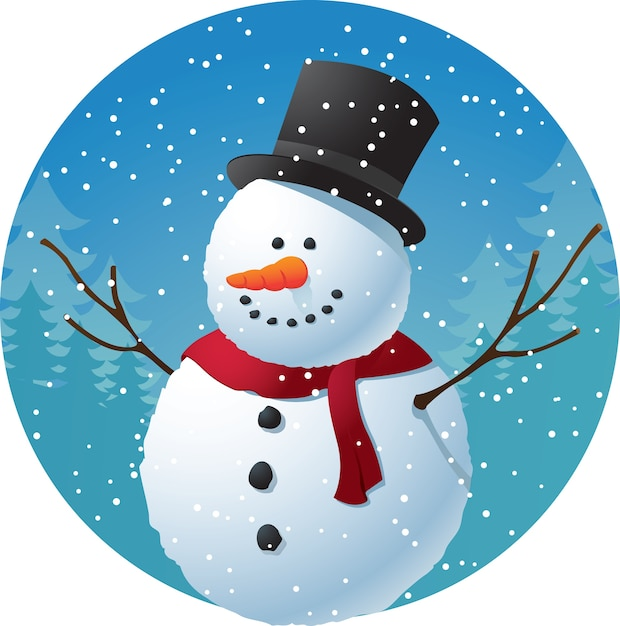 cartoon snowman on snow background vector premium download rh freepik com snow cartoon pictures snow angel pictures cartoon