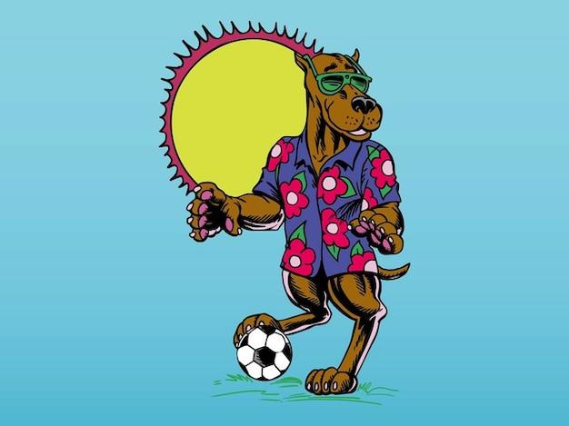 Cartoon soccer dog