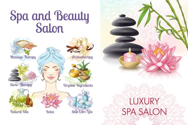Cartoon spa salon colorful composition with woman stones natural and massage oils lotus flower creams aroma candles towels Free Vector