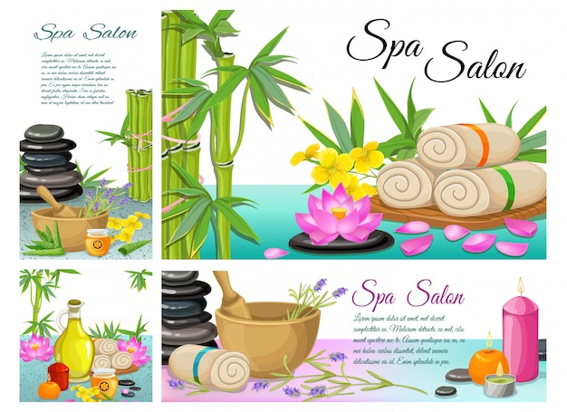 Cartoon spa salon composition with stones bamboo towels lotus flower mortar aroma candles aloe vera natural olive oil Free Vector