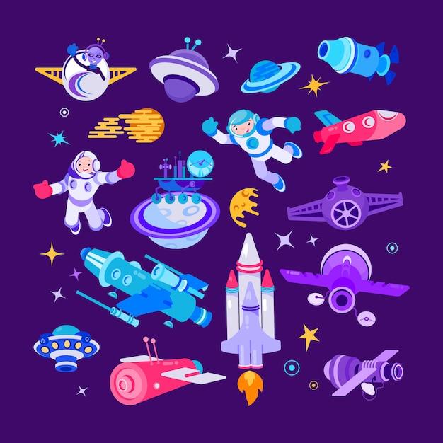 漫画の宇宙と宇宙船のイラスト、シャトルと宇宙飛行士、ロケットセット Premiumベクター