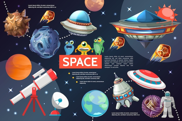 Cartoon space elements collection with sun planets stars spaceships ufo telescope satellite dish Free Vector