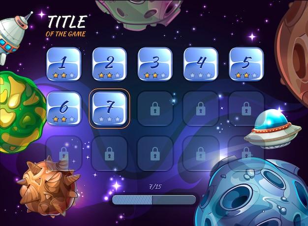 Uiゲームの漫画空間要素。ボタンユーザーアプリ、宇宙と小惑星、ロケット船とクレーターまたはufoのイラストを探索する 無料ベクター