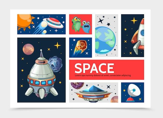 Cartoon spazio modello infografica con pianeti astronave razzo ufo simpatici alieni parabola satellitare stelle Vettore gratuito