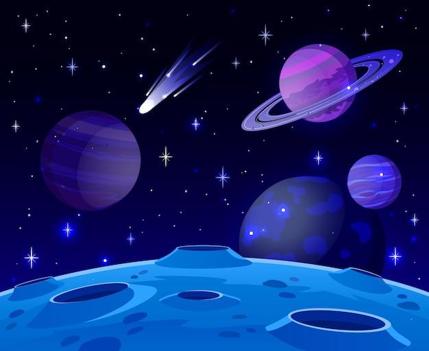 Premium Vector Cartoon Space Landscape With Cosmic Planet