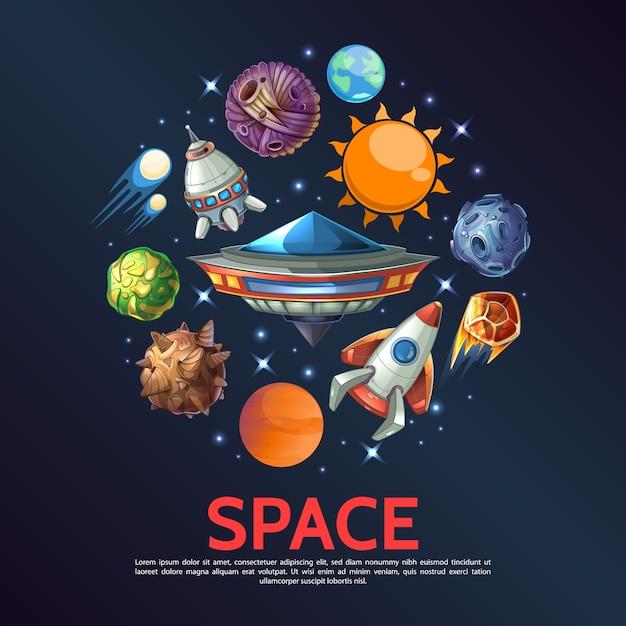 Cartoon spazio rotondo concetto con pianeta terra meteore asteroidi comete stelle astronavi sole ufo Vettore gratuito