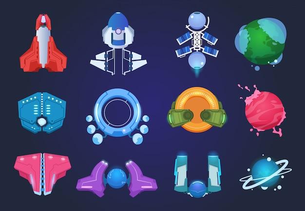 漫画の宇宙船。エイリアンの惑星ufoロケットとミサイル。宇宙銀河ゲームアイテム Premiumベクター