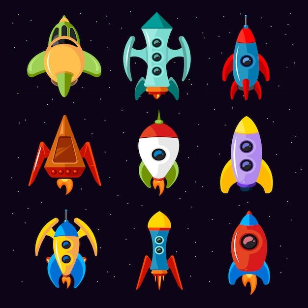 Cartoon spaceships isolated on white background Premium Vector