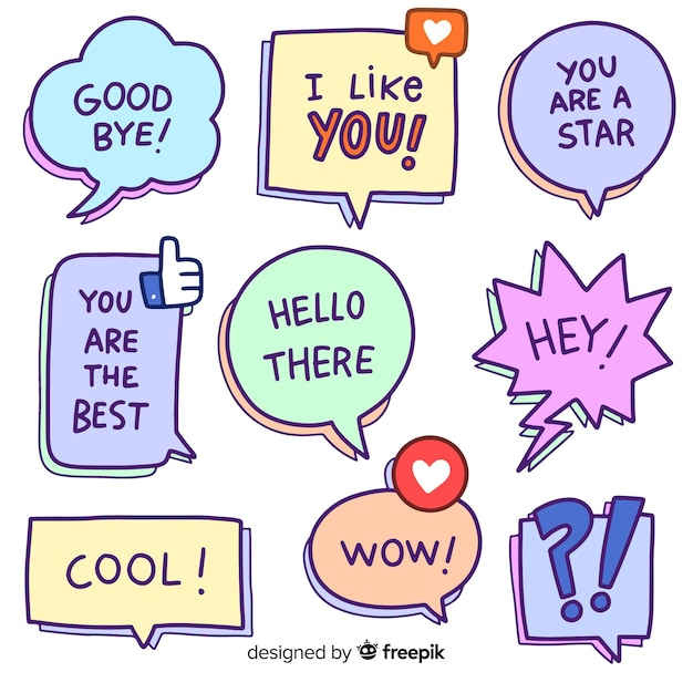 Cartoon speech bubbles with variety of messages Free Vector