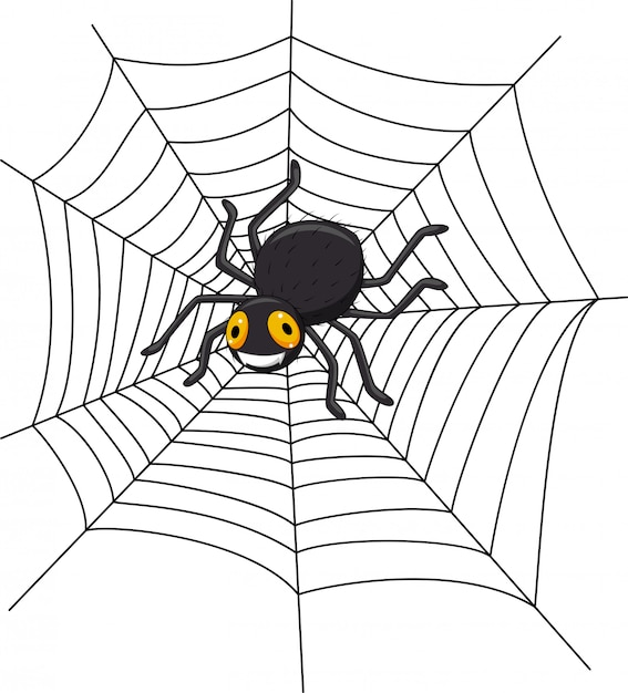 Cartoon spider on the cobweb Premium Vector