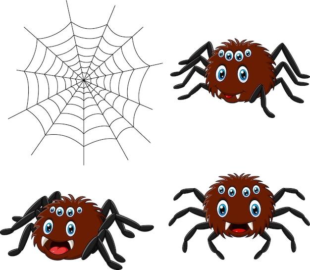 Cartoon spider collections set Premium Vector