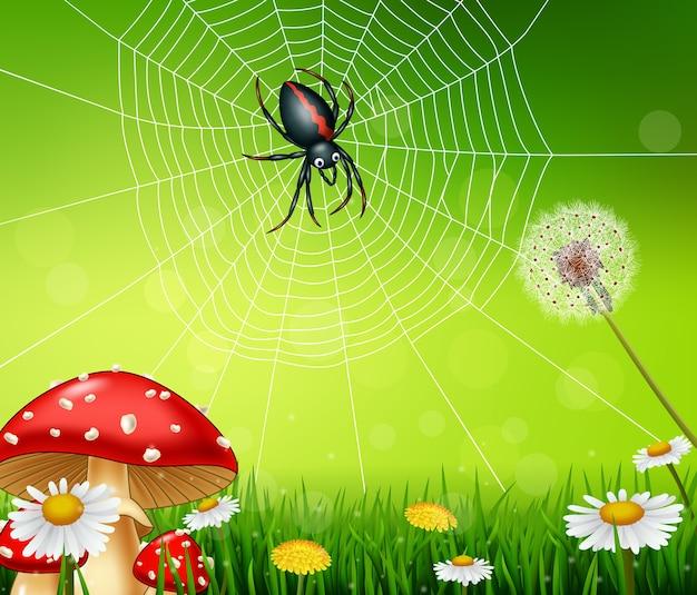 Cartoon spider with nature background Premium Vector