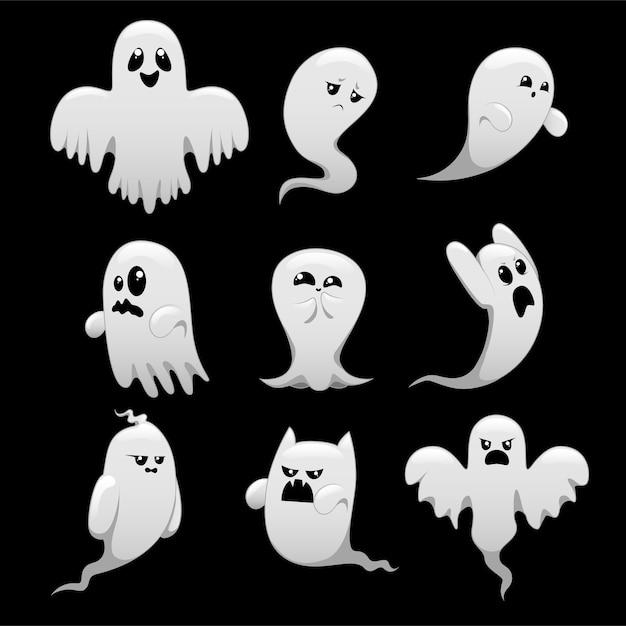 Cartoon spooky ghost character set Premium Vector