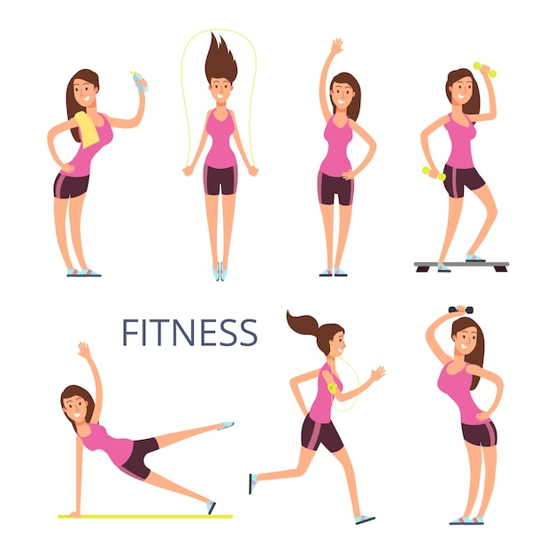 Cartoon sport young woman characters, fitness girl isolated on white Premium Vector