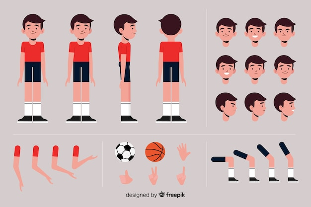 Cartoon sporty boy character template Free Vector