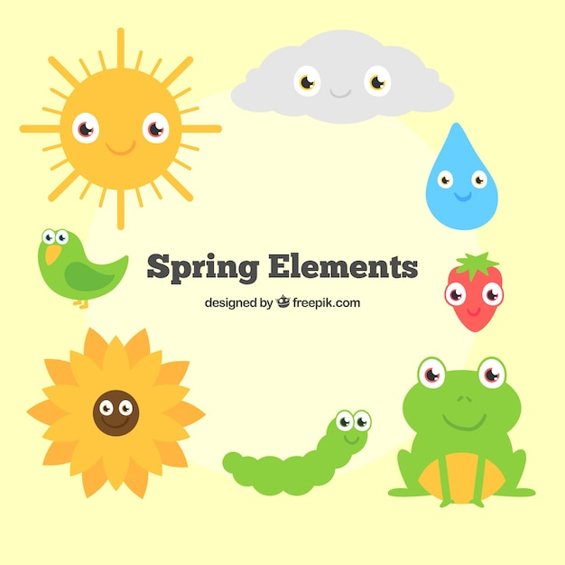 Cartoon spring animals and nature\ elements