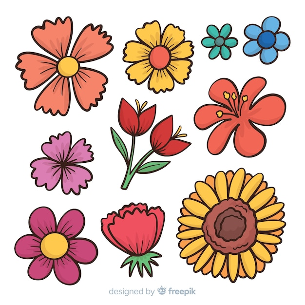 Cartoon Spring Flower Collection Vector Free Download