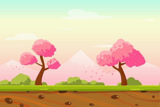Cartoon spring japan landscape  background Premium Vector