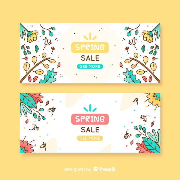 Cartoon spring sale banner Free Vector