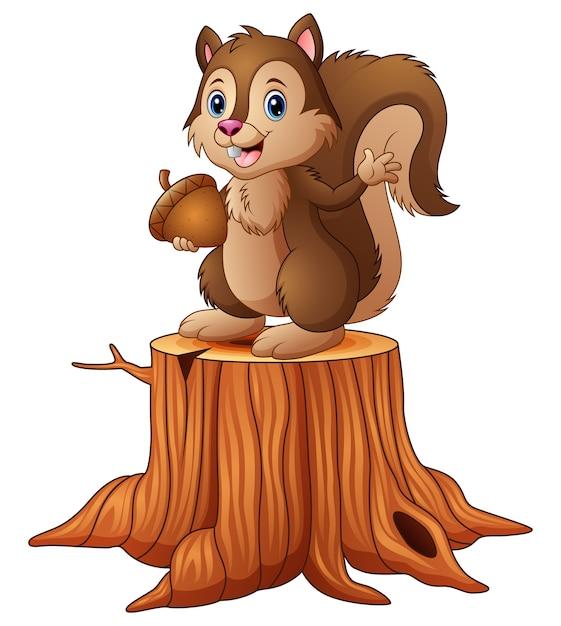 Cartoon squirrel standing on tree stump holding an acorn ...