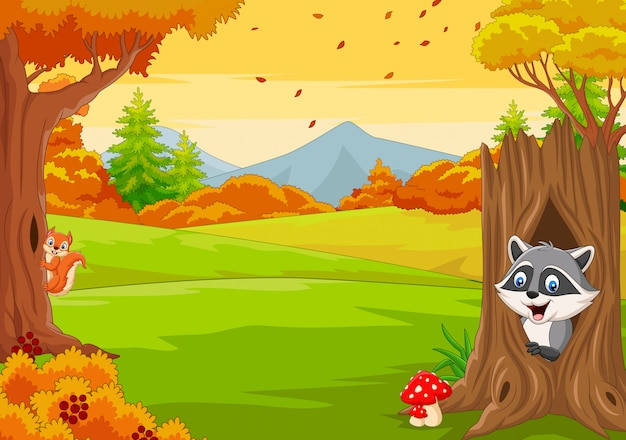 Cartoon squirrel with raccoon in the autumn forest Premium Vector