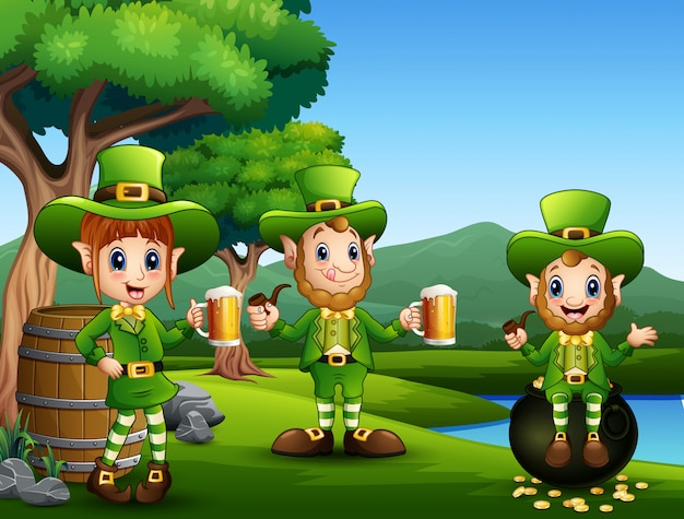 Cartoon st patricks day leprechauns with mug beer Vector ...