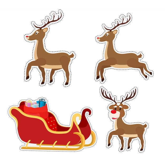 Cartoon stickers with sleigh Premium Vector