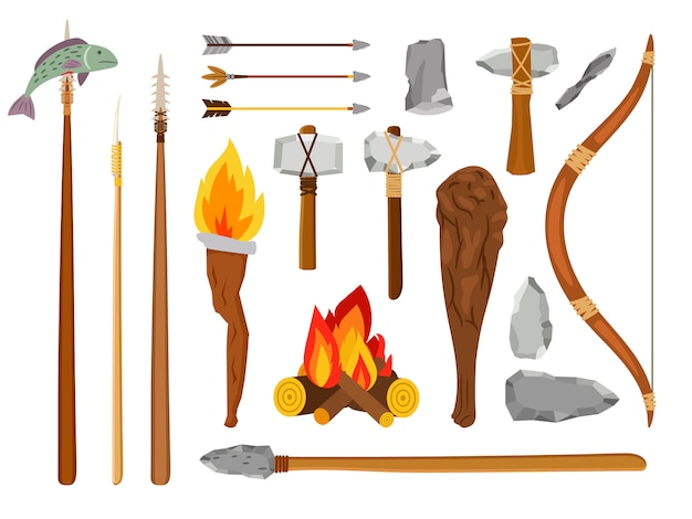 Cartoon stone age tools Premium Vector