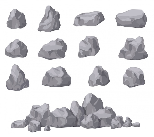 Cartoon stones. rock stone isometric set. granite boulders, natural building block shapes. 3d decoration isolated vector collection Premium Vector