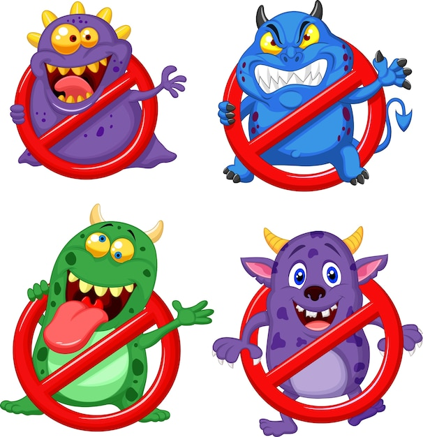 Cartoon stop virus collection set Premium Vector