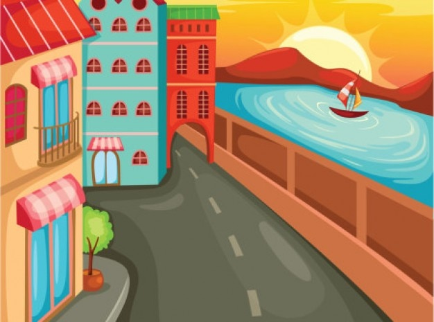 Cartoon street with buildings and sea.\ Coast.