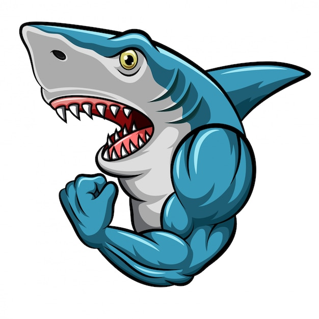 Cartoon strong shark mascot design Premium Vector