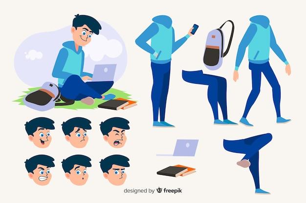 モーションデザインのための漫画の学生キャラクター 無料ベクター