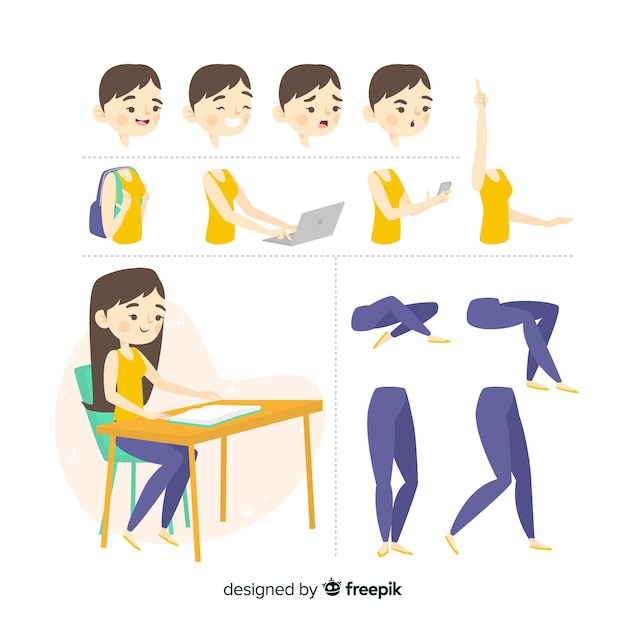 Cartoon student character template Free Vector