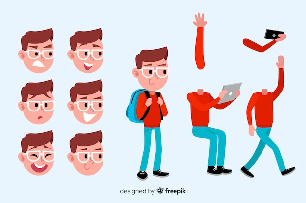 Cartoon student for motion design Free Vector