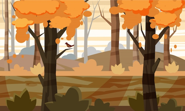 Cartoon style autumn landscape background with trees, nature, for the game, vector illustration Premium Vector
