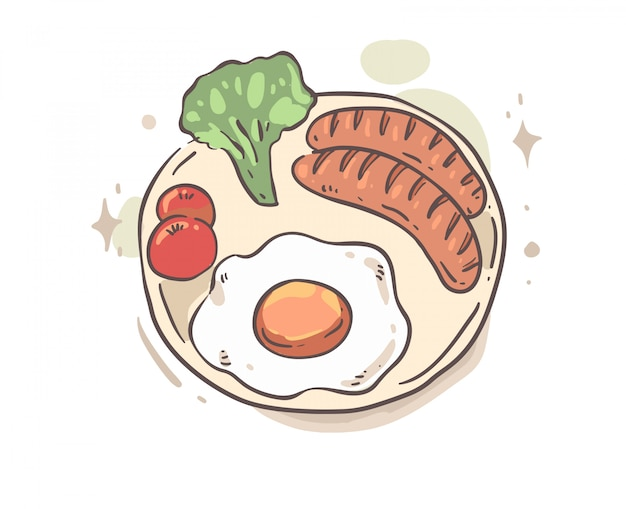 Cartoon style breakfast doodle. breakfast vector illustration Premium Vector