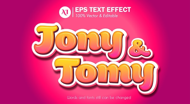 Cartoon style editable text effect Premium Vector