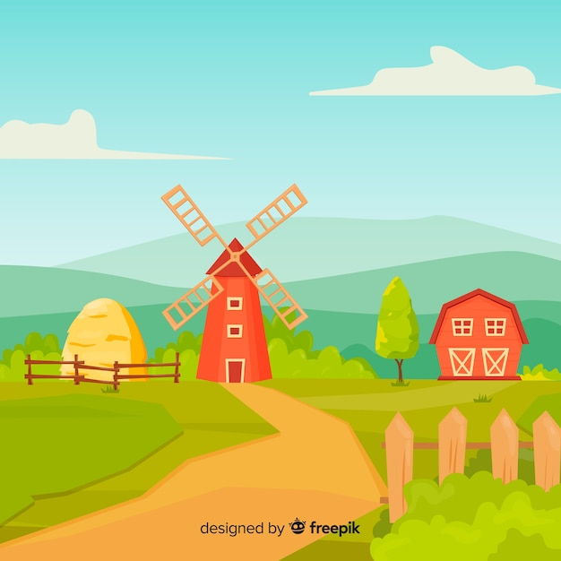 Cartoon style farm landscape background Free Vector