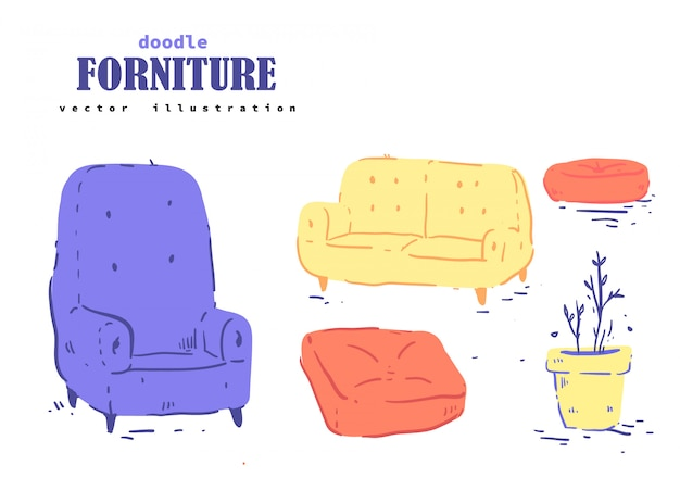 Cartoon style forniture doodle. forniture Premium Vector