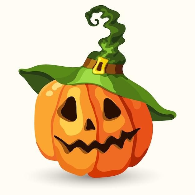 緑の魔女の帽子をかぶって漫画スタイルのハロウィンのカボチャ。分離された怖い顔 Premiumベクター