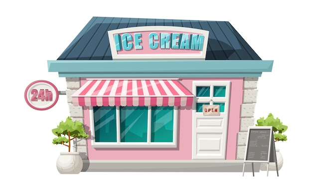 Cartoon style of ice cream cafe front  shop view. isolated  with green bushes, 24h sign and menu stand. Free Vector