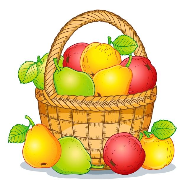 漫画スタイルのイラスト。熟したリンゴと梨をバスケットに収穫します。感謝祭。 Premiumベクター