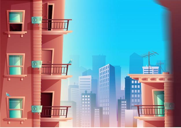 背景にバルコニーと高層ビルの側面図で建物のファサードの漫画のスタイル。窓とドア、家の屋根が付いた多層の建物。 Premiumベクター