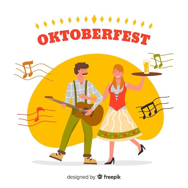 Cartoon style people celebrating oktoberfest Free Vector