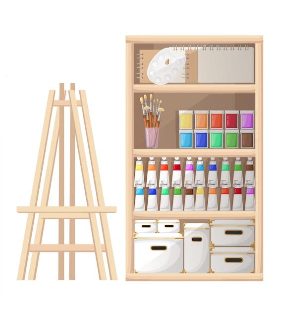 Инструменты и материалы в мультяшном стиле для рисования и кисти для рисования существ, палитра мольберта и тюбик краски на белом фоне страницы веб-сайта и мобильного приложения Premium векторы