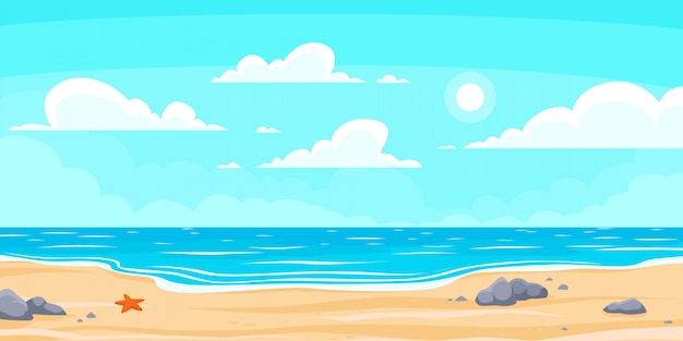만화 여름 해변. 파라다이스 자연 휴가, 바다 또는 바다 해변. 해변 풍경 배경 그림 프리미엄 벡터