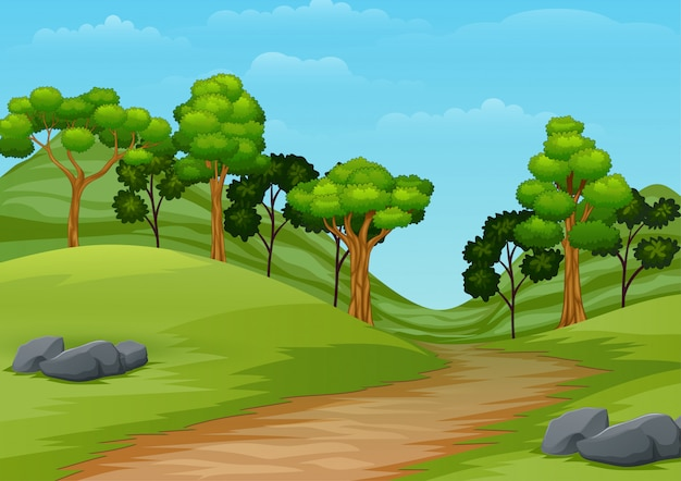 Cartoon summer landscape with road trail to forest Premium Vector